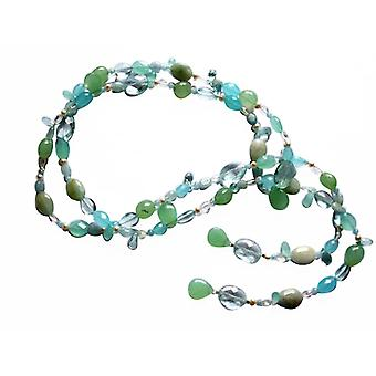 Gemshine - ladies - necklace - Lariat - aquamarine - Pearl - blue - white - 120 cm