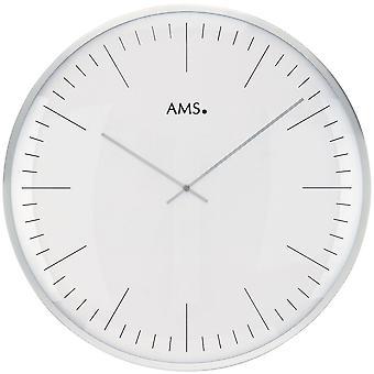 AMS 9540 Wanduhr Quarz analog weiß silbern rund