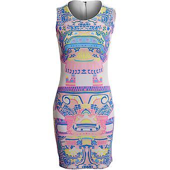 Nieuwe dames mouwloos Retro Arcade afdrukken vrouwen Bodycon jurk