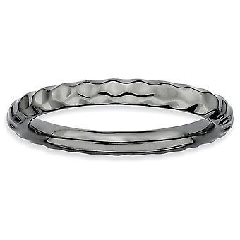 Sterling Silver polerat mönstrad rutenium plätering stapelbar uttryck svart-plated hamrad Ring - Ring storlek: 5 till