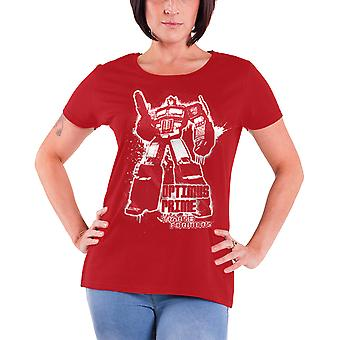 Transformers T Shirt Optimus Prime Splatter new Official Womens Skinny Fit Red
