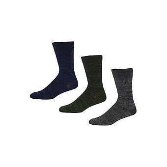 Ben Sherman mannen 3 Pack dagelijks kalf geribbeld sokken blauw grijs Torrent