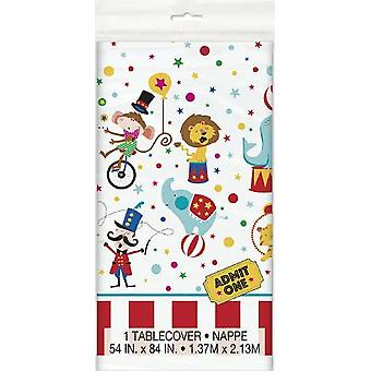 Funny circus kids party table cover 137 x 213 cm circus party birthday decoration