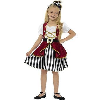 زي فتاة القراصنة ديلوكس، الأحمر آند الأسود، مع فستان آند هات