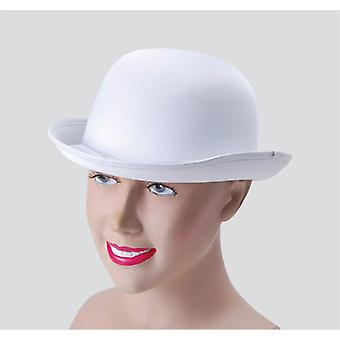 Bowler Hat. White, Satin Look.