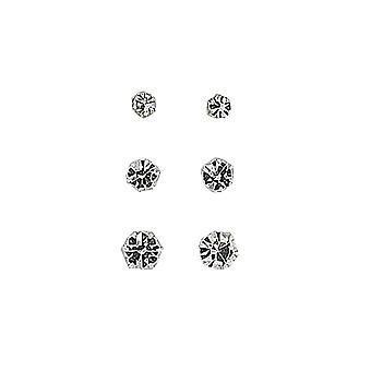 TOC Sterling Silver Crystal Stud Earrings 3mm, 4mm, & 5mm Set of 3