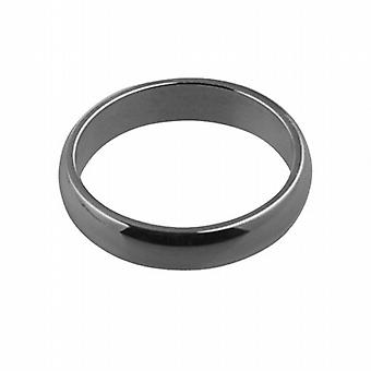 Platinum plain D shaped Wedding Ring 4mm wide in Size P