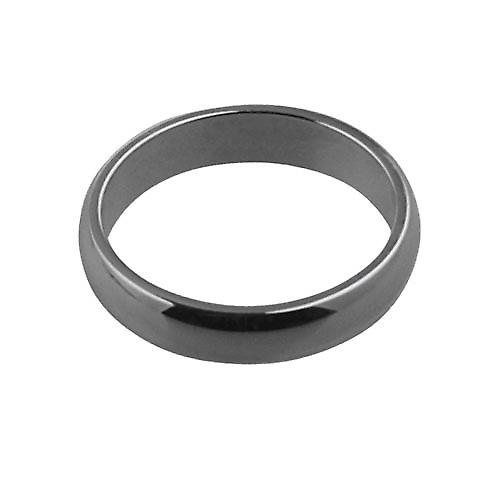 Platinum plain D shaped wedding ring 4mm wide