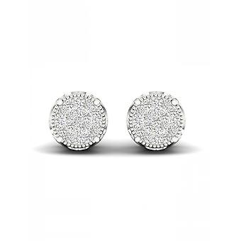 IGI-Certified-DeCouer-1/8-Ct-TDW-Diamond-10K-White-Gold-Cluster-Stud-Earrings-(H-I,-I2)