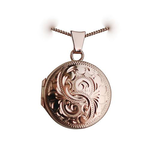 9ct Rose Gold 20mm hand engraved flat round Locket with a curb Chain 16 inches Only Suitable for Children