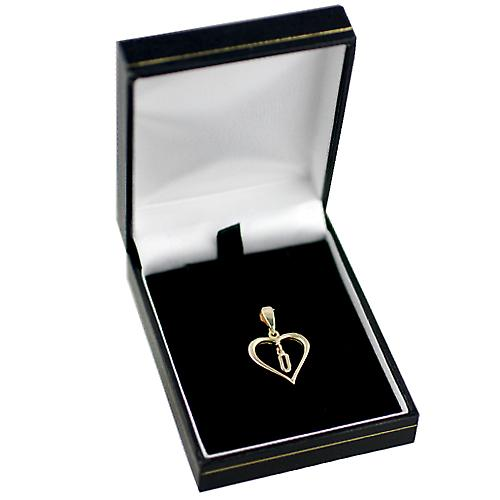 9ct Gold 18x18mm heart Pendant with a hanging Initial U