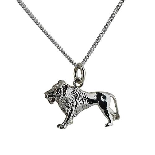 Silver 15x23mm solid Lion Pendant with a curb Chain 18 inches