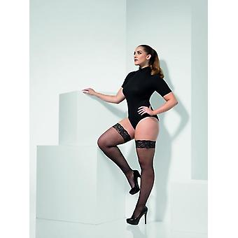 Womens Black Fishnet Hold-Ups Silicone Tops Extra Large Fancy Dress Accessory