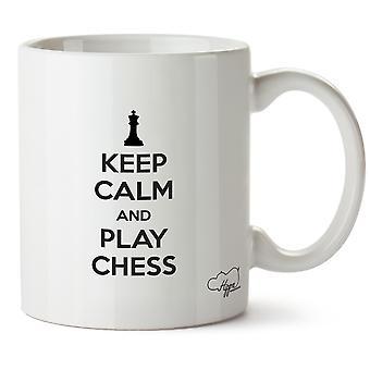 Hippowarehouse houden rust en Play Chess bedrukte mok beker keramische 10oz