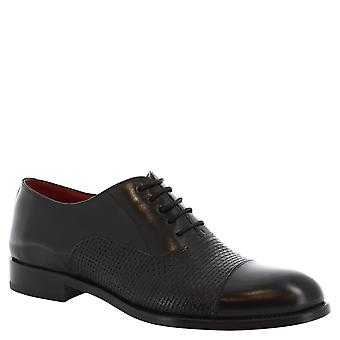 Men's handmade derby shoes in black calf leather