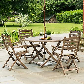Alexander Rose Sherwood 4-Seater Round Folding Dining Set