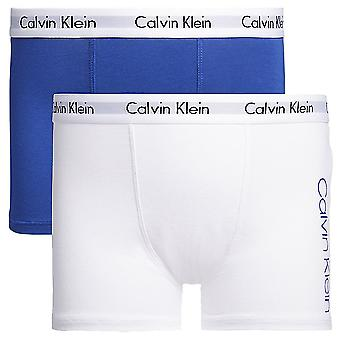 Calvin Klein Boys 2 Pack Modern Cotton Boxer Trunk, White / Mazarine Blue, X-Large