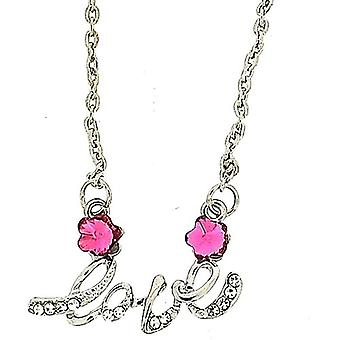 TOC Silvertone  Pink & Clear Rhinestone Flower LOVE Word Necklace 18