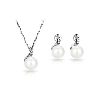 Spiral pearl set created with swarovski® crystals