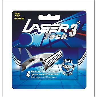 4 barberblade cardridges til laser Tech3-Triple blade Razor til mænd-smøre strimmel med Aloe
