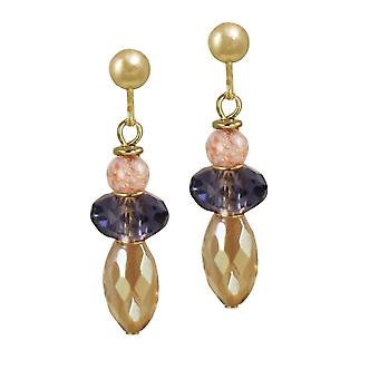 Eternal Collection Fiesta Amethyst And Gold Crystal Murano Glass Drop Clip On Earrings