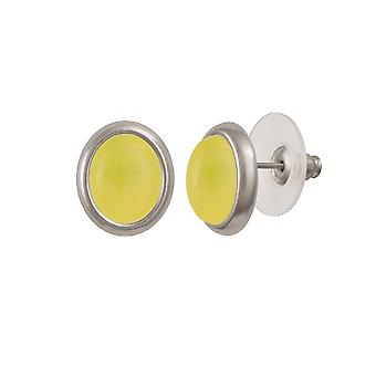 Eternal Collection Minuet Honey Yellow Quartz Silver Tone Stud Pierced Earrings