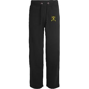 9th Queens Royal Lancers - Licensed British Army Embroidered Open Hem Sweatpants / Jogging Bottoms