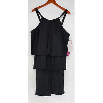 Fit 4 U Plus Swimsuit Hi Neck Double Tiered Romper Black A298028