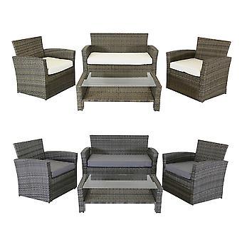 Charles Bentley moderne 4-delige rotan tuinterras meubilair set-weerbestendig gehard glas in natuurlijk/grijs