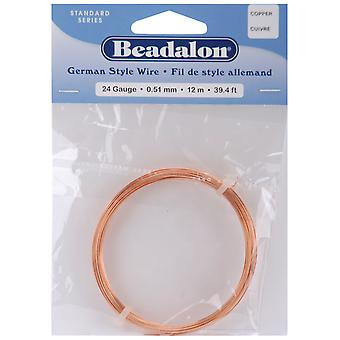 German Style Round Wire 24 Gauge 39 Feet Pkg Copper 180Cu024