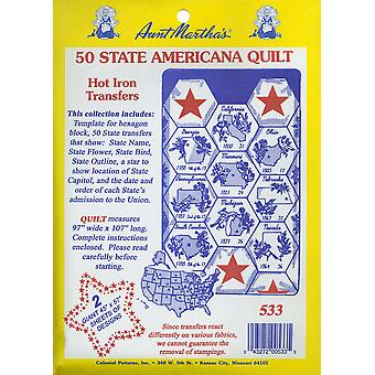 Aunt Martha's Iron On Transfer Collections 50 State Americana Quilt Tpc 533