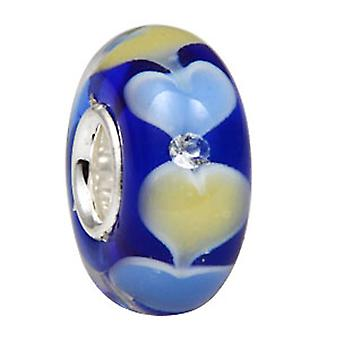 Sterling silver murano glass charm with rhinestones inside