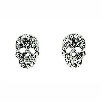Butler & Wilson Crystal Tiny Flat Skull Stud Earrings