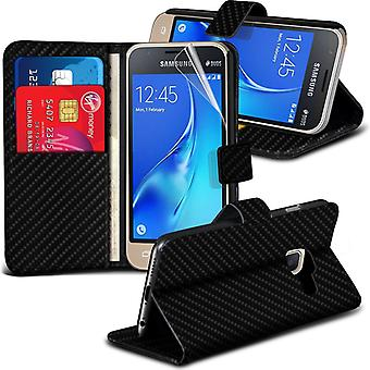 i-Tronixs Samsung Galaxy J1 Mini 2016 Wallet PU Leather Classic Flip Case -Black Carbon