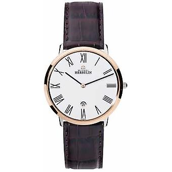 Michel Herbelin Mens Ikone Grande Brown Leather Strap White Dial 19515/TR01MA Watch