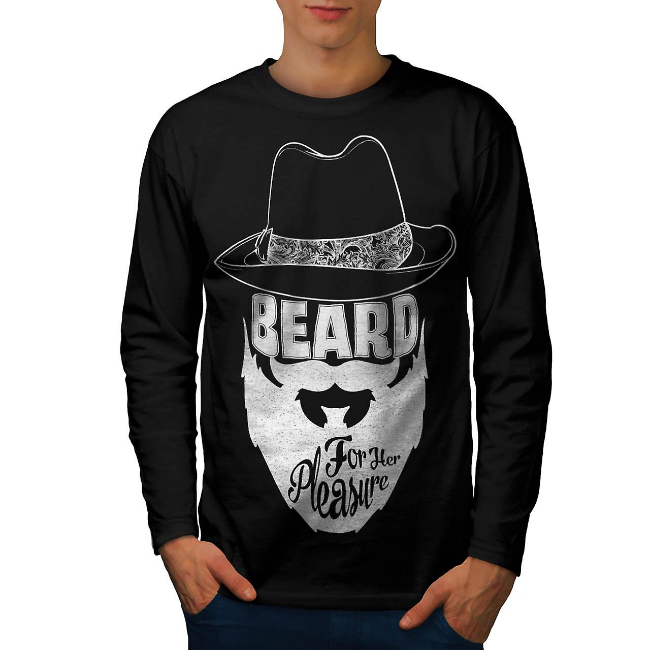 Beard For Pleasure Facial Hair Men Black Long Sleeve T-shirt | Wellcoda