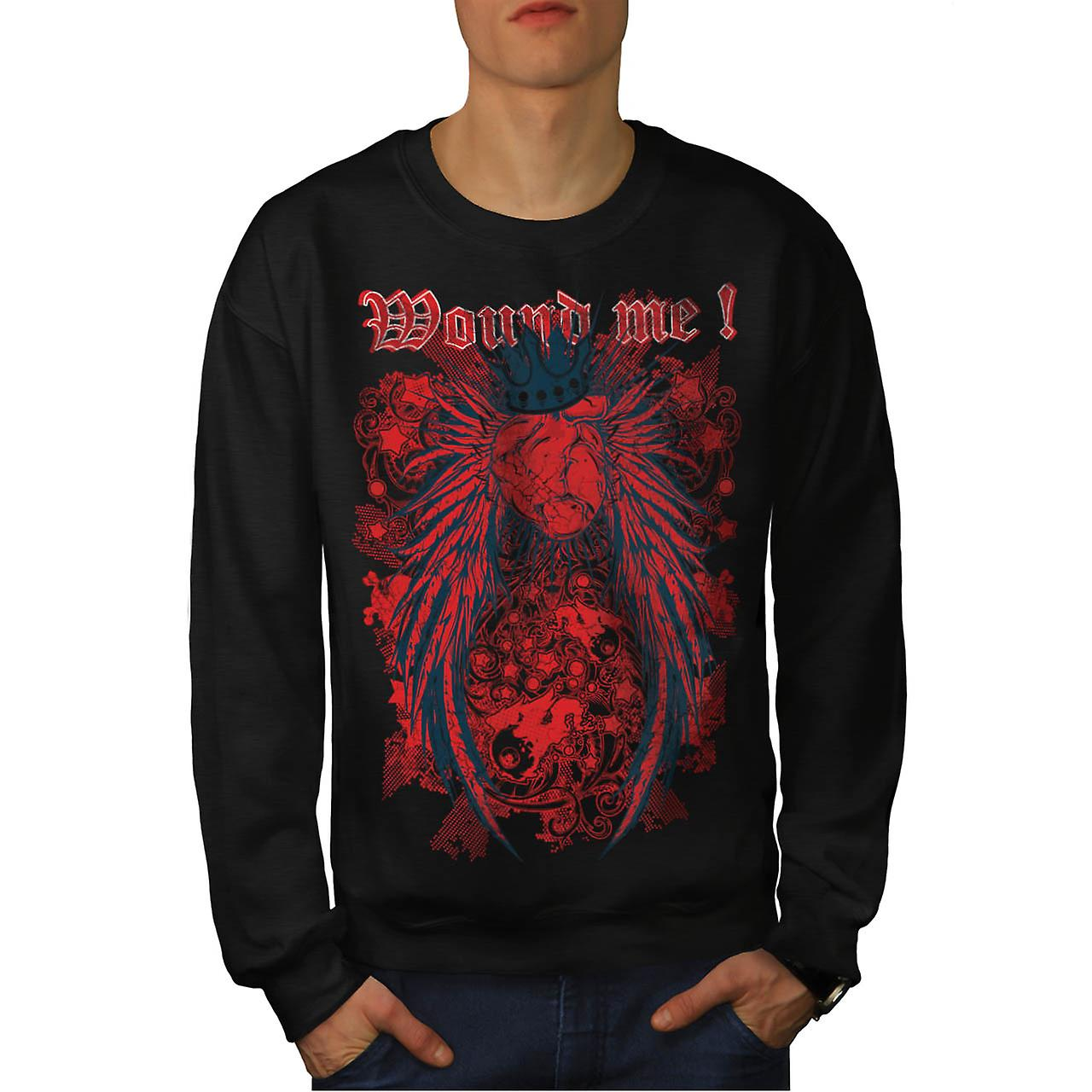 Wounded Heart Art Fashion Men Black Sweatshirt | Wellcoda