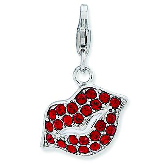 Sterling Silver Lips With Lobster Clasp Charm - 2.1 Grams