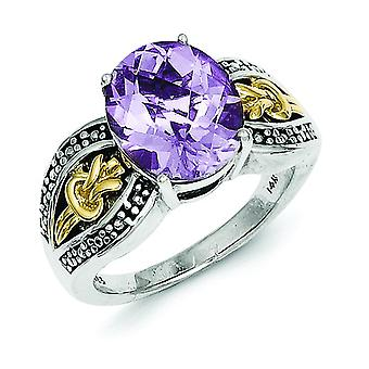 Sterling Silver With 14k 3.30Pink Amethyst Ring - Ring Size: 6 to 8