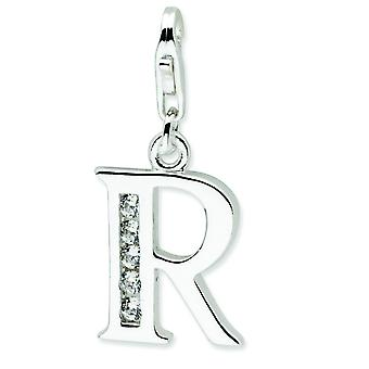 Sterling Silver Solid Polished Rhodium-plated Not engraveable Fancy Lobster Closure Cubic Zirconia Letter R With Lobster