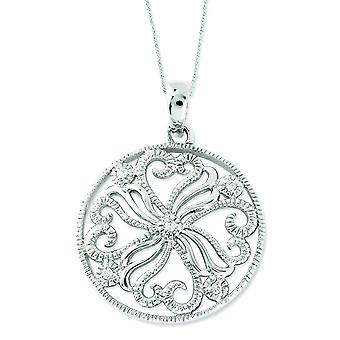 Sterling Silver Polished Gift Boxed Spring Ring Rhodium-plated Cubic Zirconia Kindred Spirit 18inch Swirls Necklace