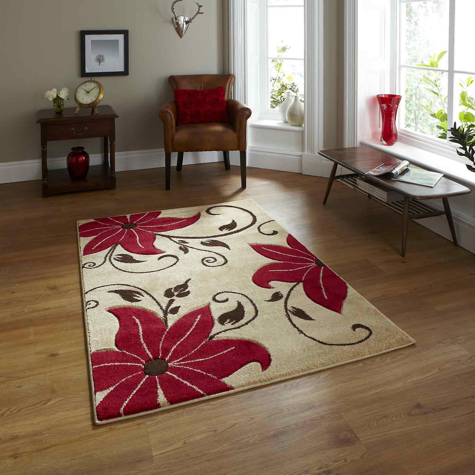 Verona Oc15 Hand Carved Rugs In Beige Red