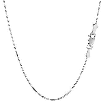 Sterling Silver Rhodium Plated Box Chain Necklace, 0.9mm