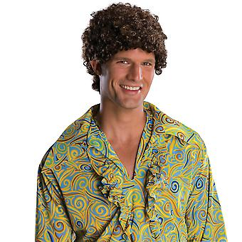 Tight Fro Dark Brown Afro 1970s 1980s Disco Hippie Men Costume Wig