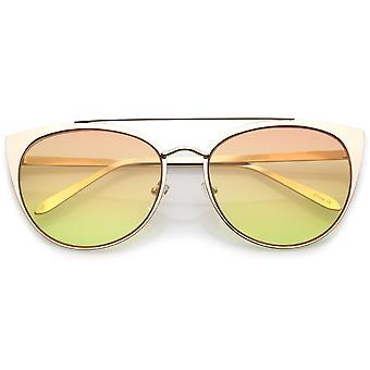 Damen Oversize Metal Crossbar farbige flache Linse Cat Eye Sonnenbrille 61mm