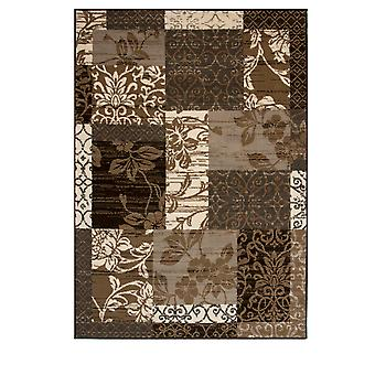 Brown & Grey Patchwork Rug Milan