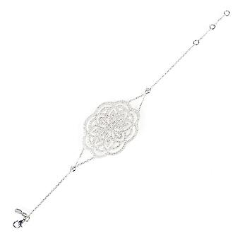 Latelita Lotus Flower Bracelet Wedding Bridal 925 Sterling Silver CZ Delicate