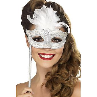 Baroque fantasy eye mask, silver