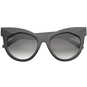 Chic Womens Oversized Flat Lens Bold Chunky Cat Eye Sunglasses 64mm