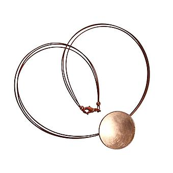 Pendant disc red gold plated Rosé shell necklace gold plated